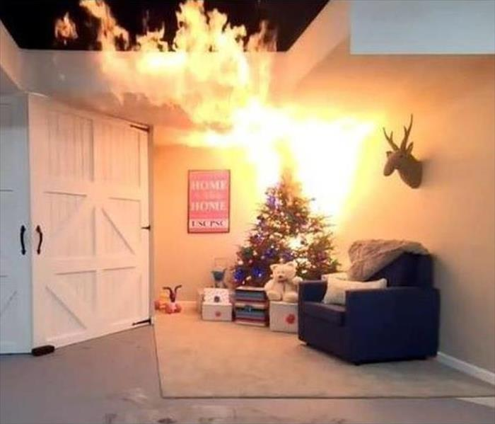 Picture of Christmas tree on fire